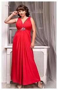 Красное платье в пол на полных